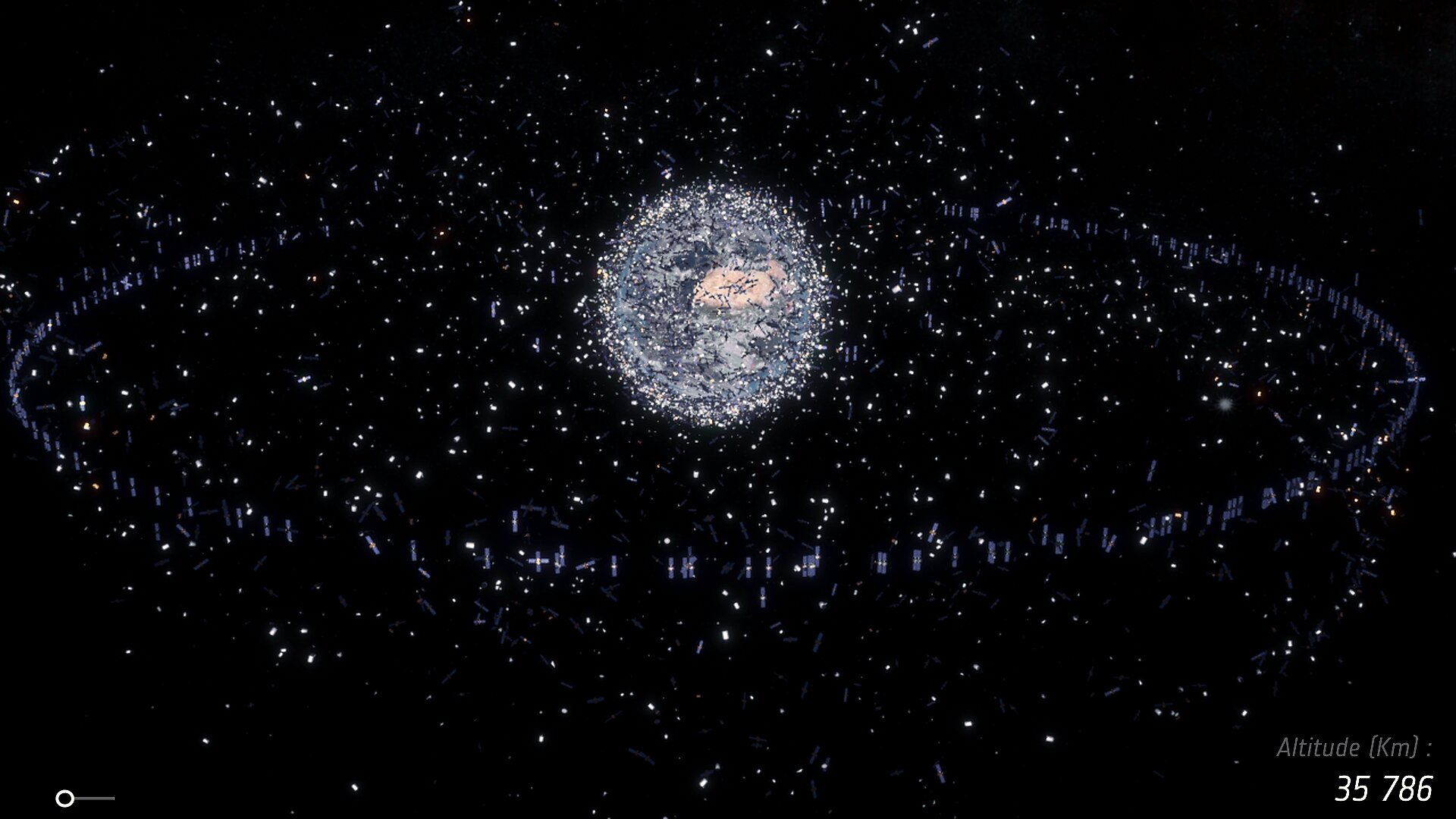 Space debris effects on the geostationary orbit