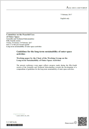 Draft UN Guidelines on the Long-Term Sustainability of Outer Space Activities, February 2017