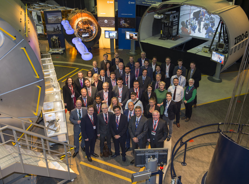 John Halligan, Ireland's Minister of State for Training, Skills and Innovation. and his trade delegation visiting ESTEC on 24 April 2017. Photo: ESA/G. Porter