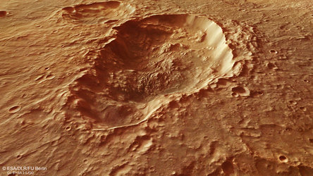 Perspective view across a triple crater