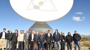 ESA team joined by Agustín Campero, Argentina's Secretary of Scientific and Technological Articulation, as well as invited guests during the announcement of an 18-month, €4-million upgrade to ESA's Malargüe ground station in Argentina.