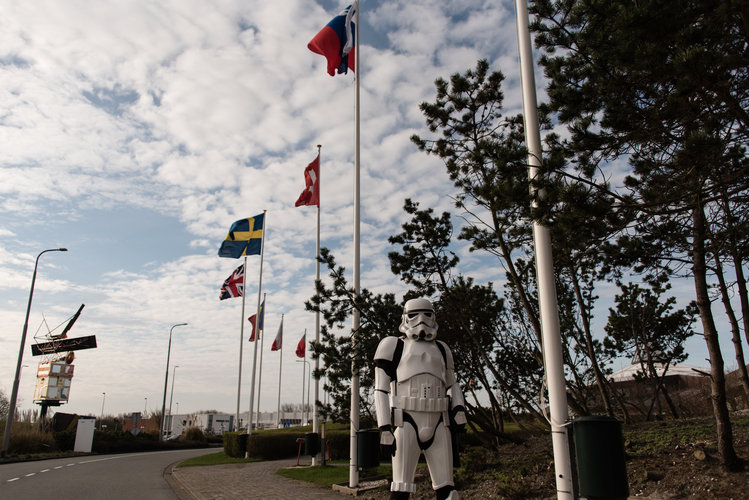 Stormtrooper and ESTEC flags