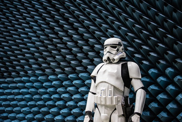 Stormtrooper beside anechoic foam