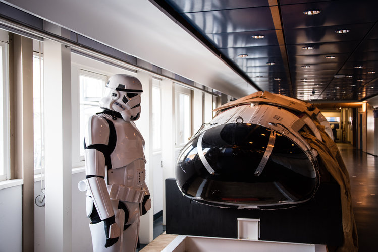 Stormtrooper beside IXV model