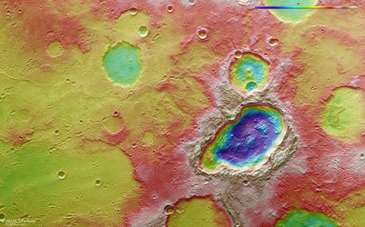 Topography of a triple crater