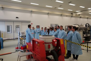CubeSat team students during a tour of the Mechanical Systems Laboratory - ESTEC