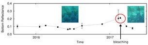 Serie cronológica de los corales capturados por Sentinel-2