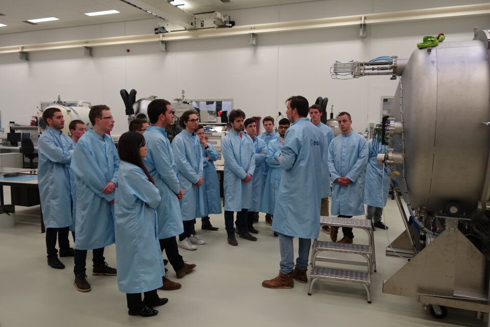 Student teams during a tour of the facilities at ESTEC