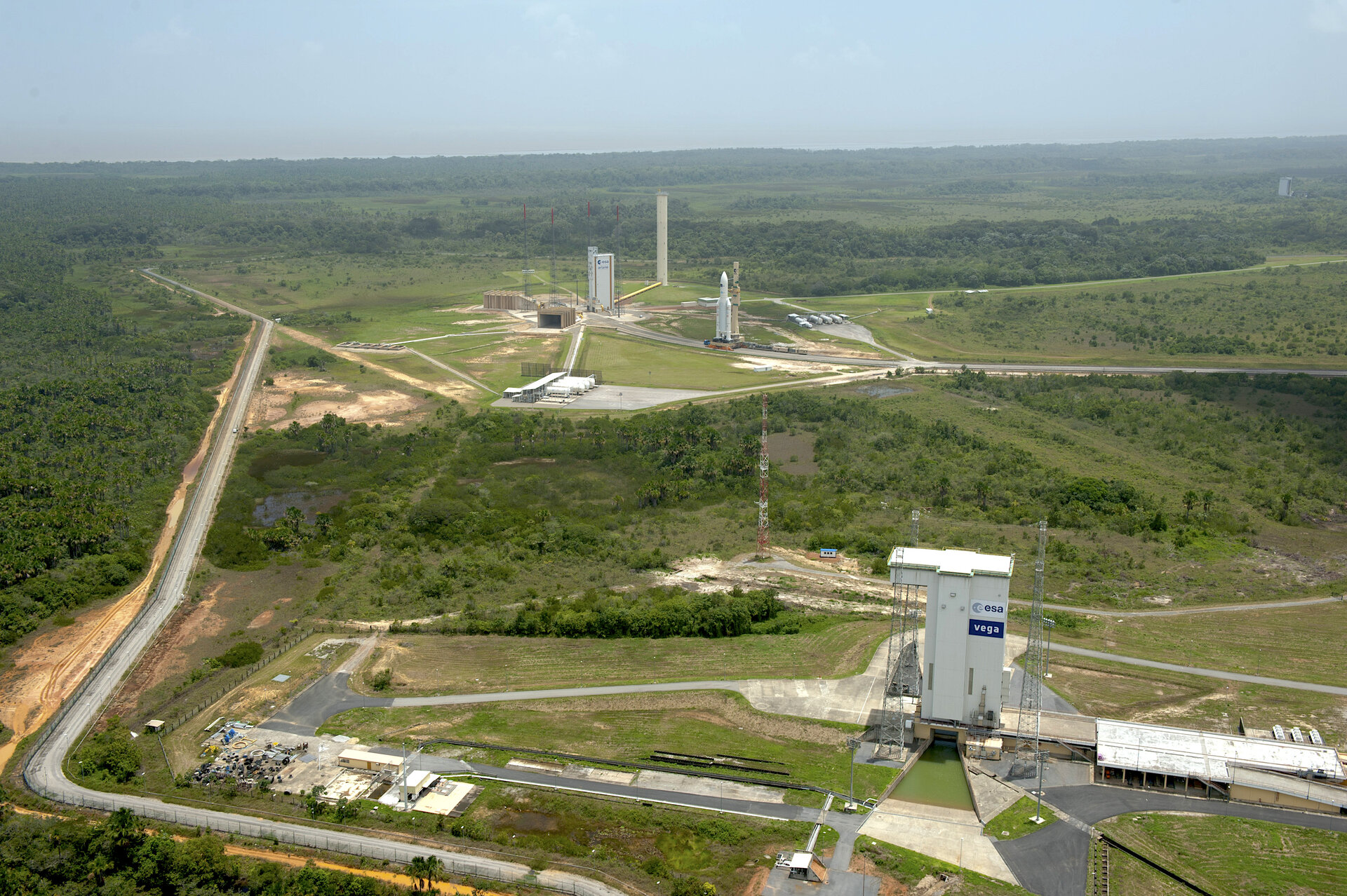 Vega and Ariane 5 launch pads at Europe's Spaceport