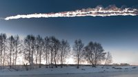 Trail of the Chelyabinsk asteroid crossing Russian skies on 15 February 2013