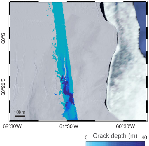Depth of ice crack