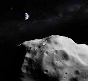 Composite view of Earth seen from an asteroid