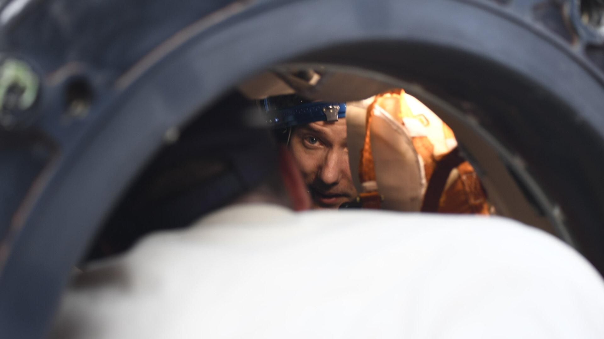 Thomas in Soyuz spacecraft