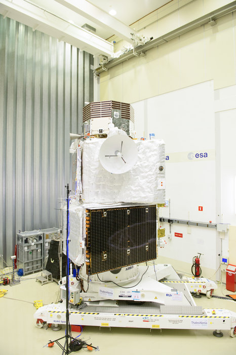 BepiColombo in launch configuration at the ESA's testing center.