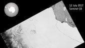 Sentinel-Satellit zeichnet Entstehung eines riesigen Eisbergs auf