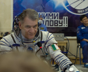 Paolo Nespoli dressed in his Russian Sokol suit