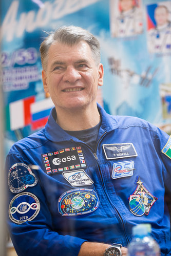 Paolo Nespoli during the pre-launch press conference