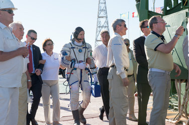 Paolo Nespoli walking to the launch pad
