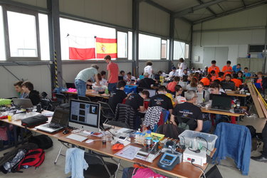 Working stations on the 2017 European CanSat Competition