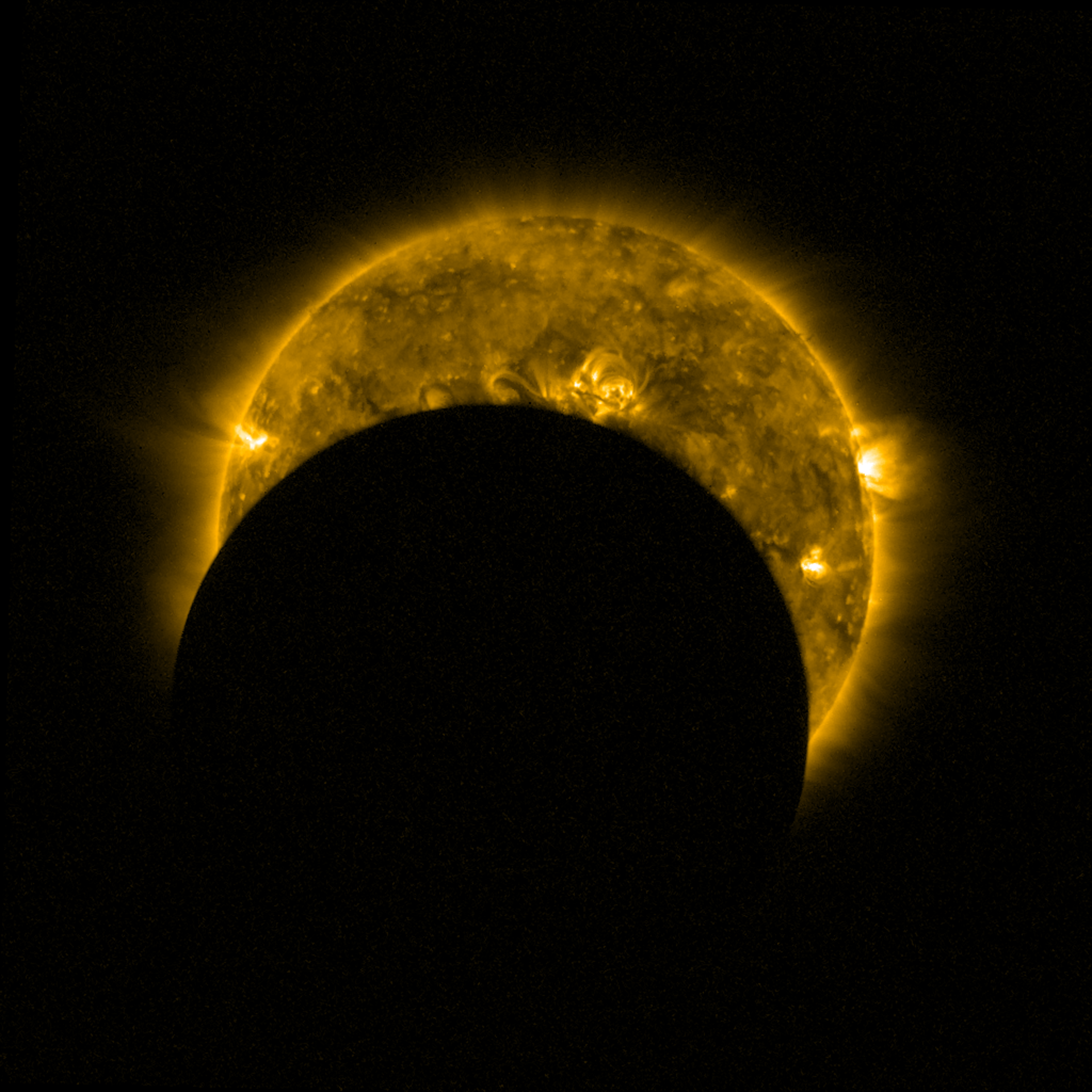 A partial solar eclipse seen from space