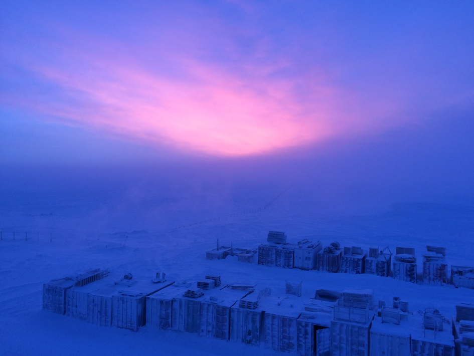 Cloudy first sunrise at Concordia Research Station