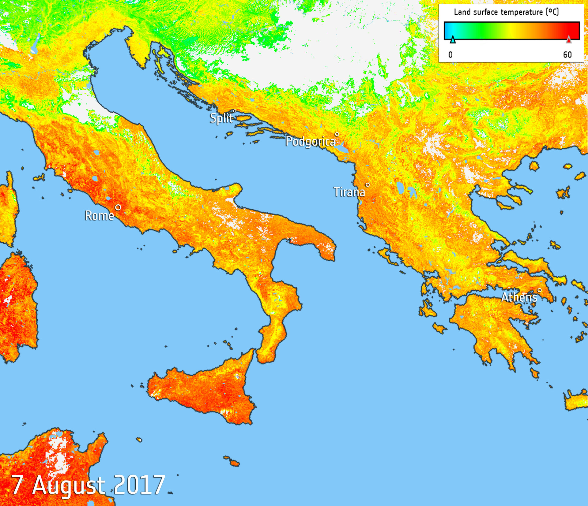 ESA - Sweltering southern Europe