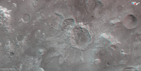 3D view of a cratered scene north of Hellas