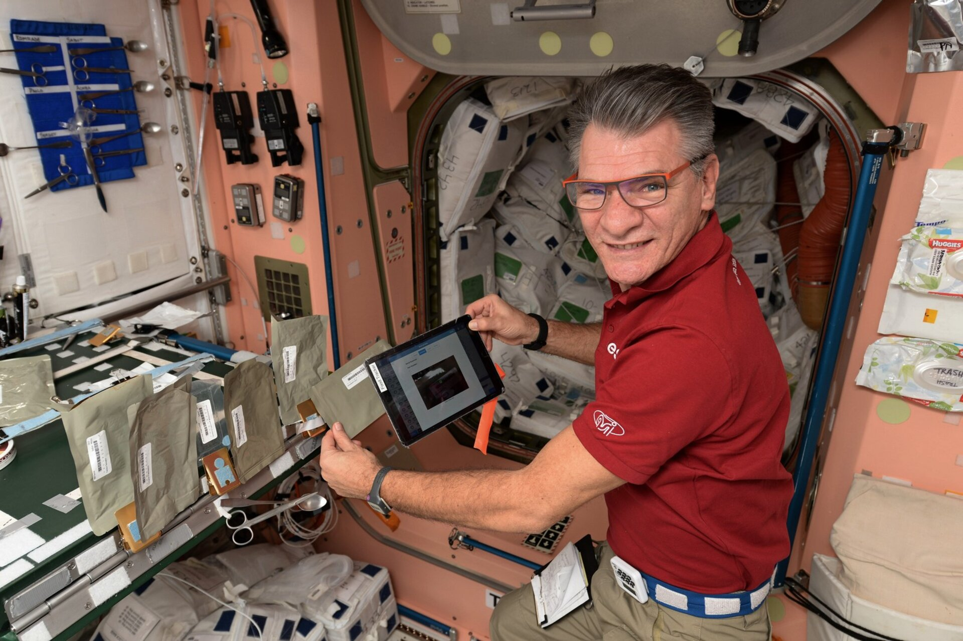 ESA astronaut Paolo Nespoli using EveryWear for nutrition monitoring