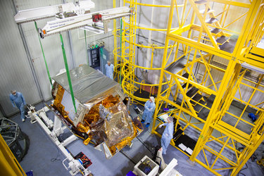 Sentinel-5P being lifted into position
