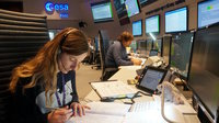 Members of the Sentinel-5P mission control team seen in ESA's Main Control Room, Darmstadt, Germany, 26 September 2017, conducting simulation training to prepare for launch, planned for 13 Oct.