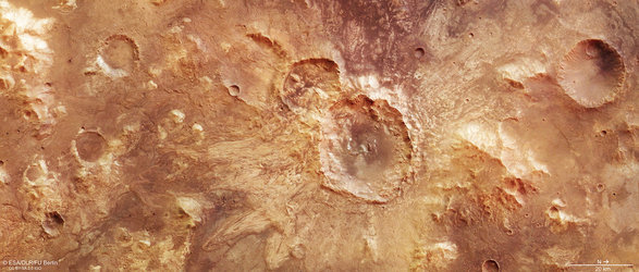 Water-rich impact crater on Mars