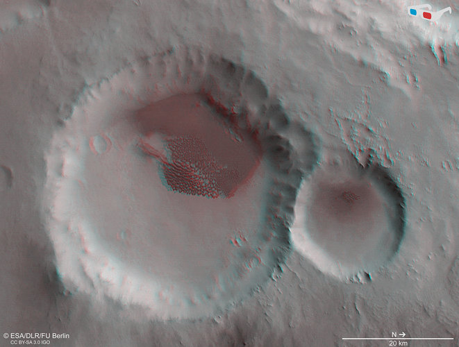 Dune-filled crater in 3D