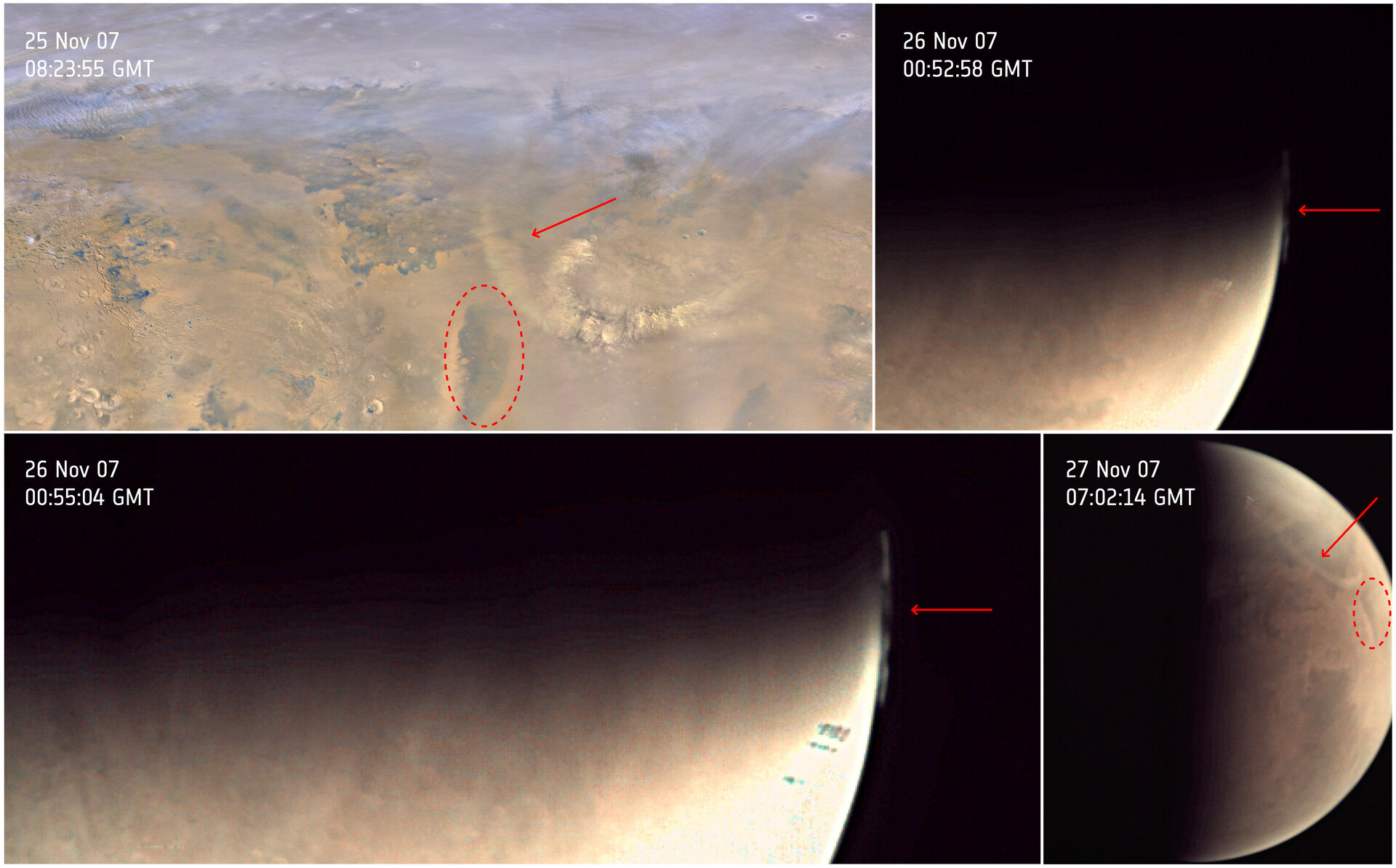 Dust clouds over Mars