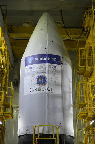 Sentinel-5P fairing sticker signed off