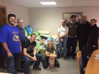 Sentinel-5P Plesetsk team with items for local children's home