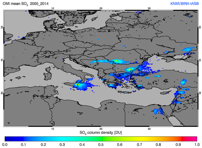 Sulphur dioxide over Europe from OMI