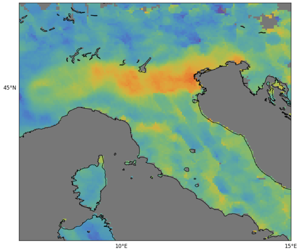 Carbon monoxide over northern Italy from Sentinel-5P