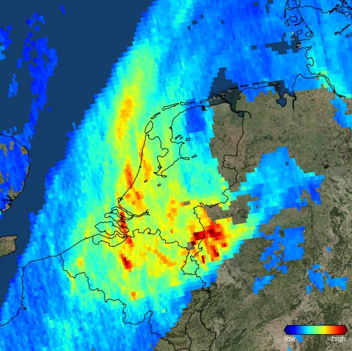 Space in Images 2017 12 Nitrogen dioxide over the Netherlands