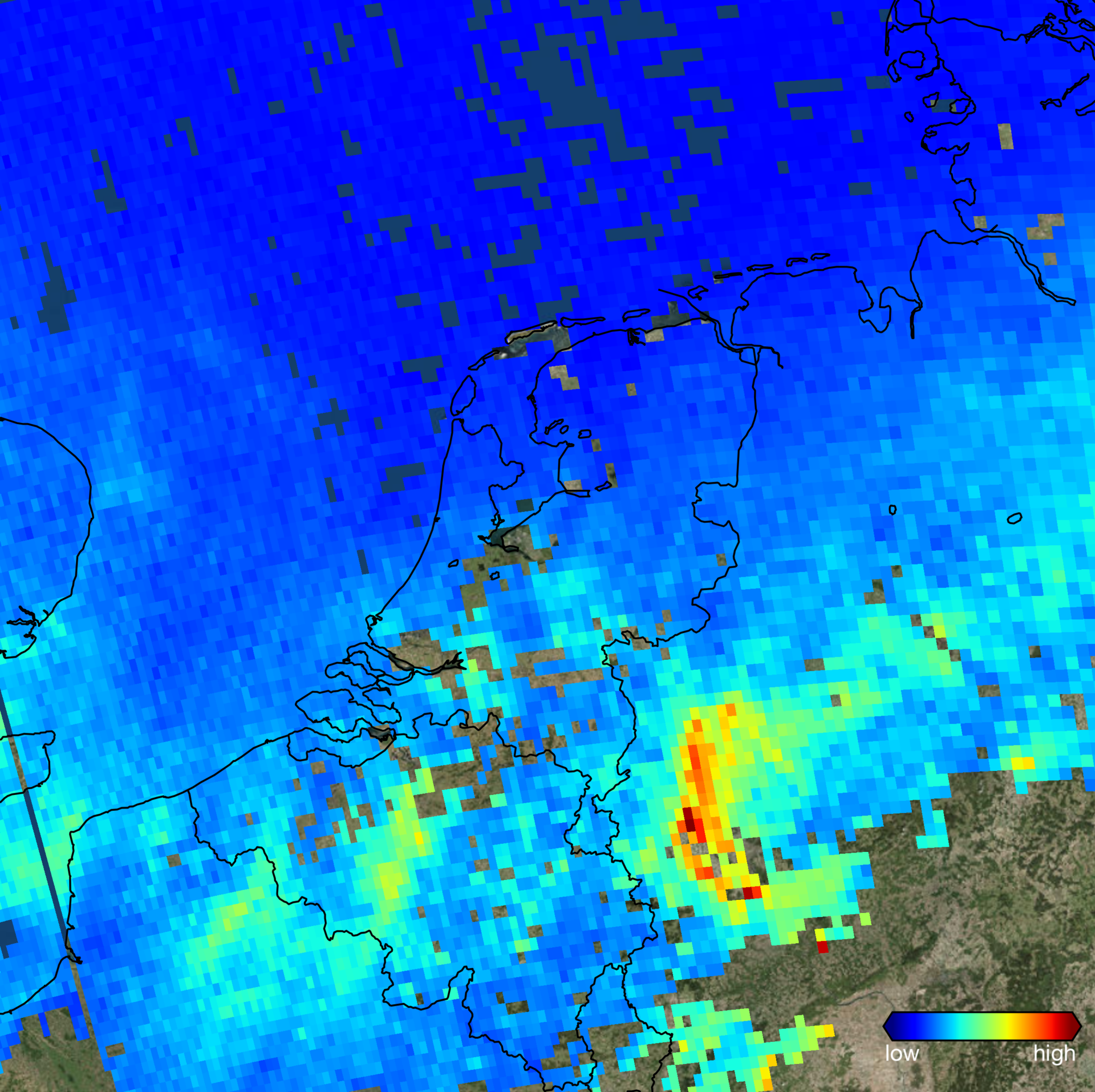 Nitrogen dioxide over west Germany