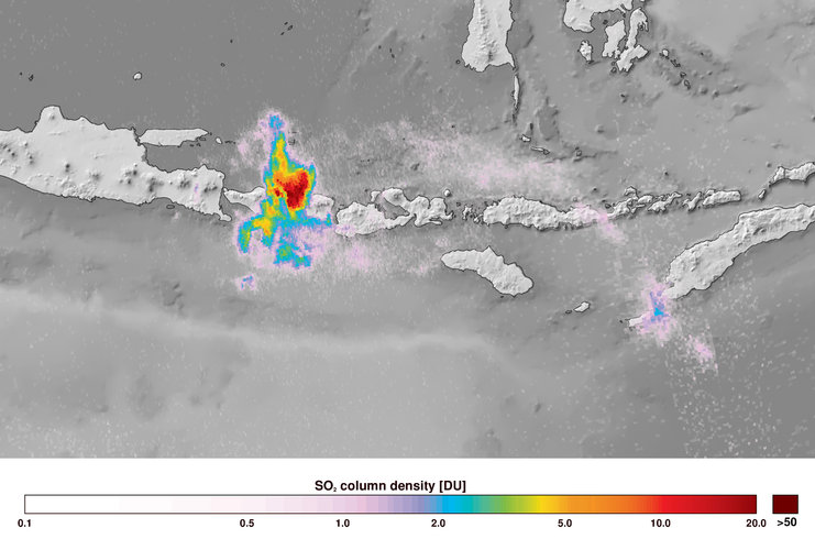 Sentinel-5P captures Bali volcanic eruption