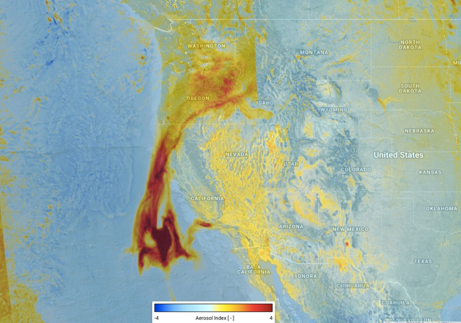 Tracking aerosols from California's fires