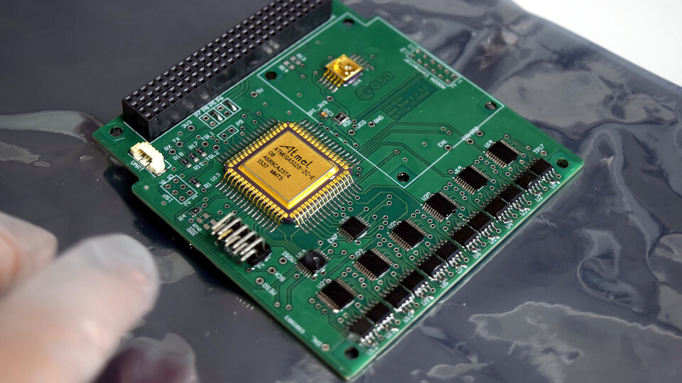 This cheap electronics board is carried onboard ESA's GomX-4B CubeSat to test how COTS parts cope with radiation in space
