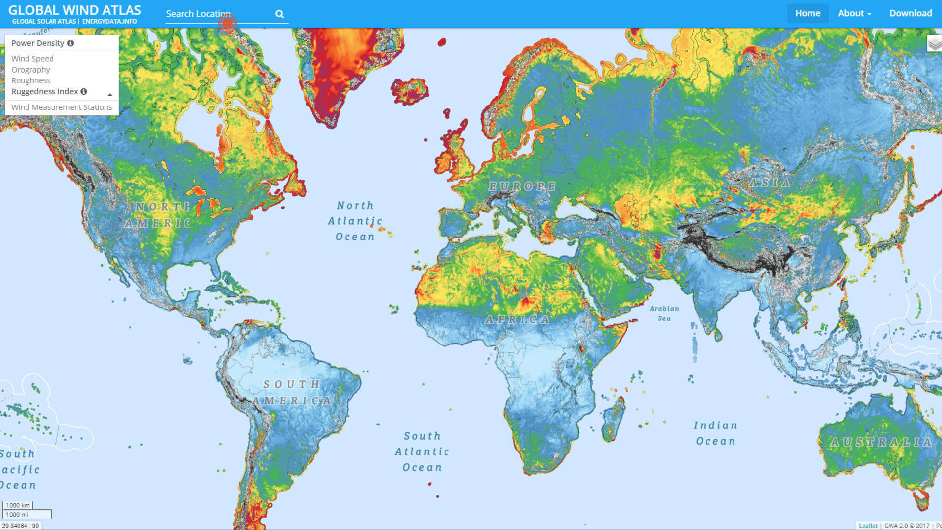 Putting renewable energy on the map / Energy / Space for ... on wind direction map, global wind direction, wind speed map, global wind patterns, wind belt map, wind resource map, prevailing winds caroline islands map, north america wind map, local winds map, surface winds map, jet stream map, humidity map, world winds map, wind currents map, global wind currents, wind energy map, ocean winds map, global wind zones, real-time wind map, trade winds map,