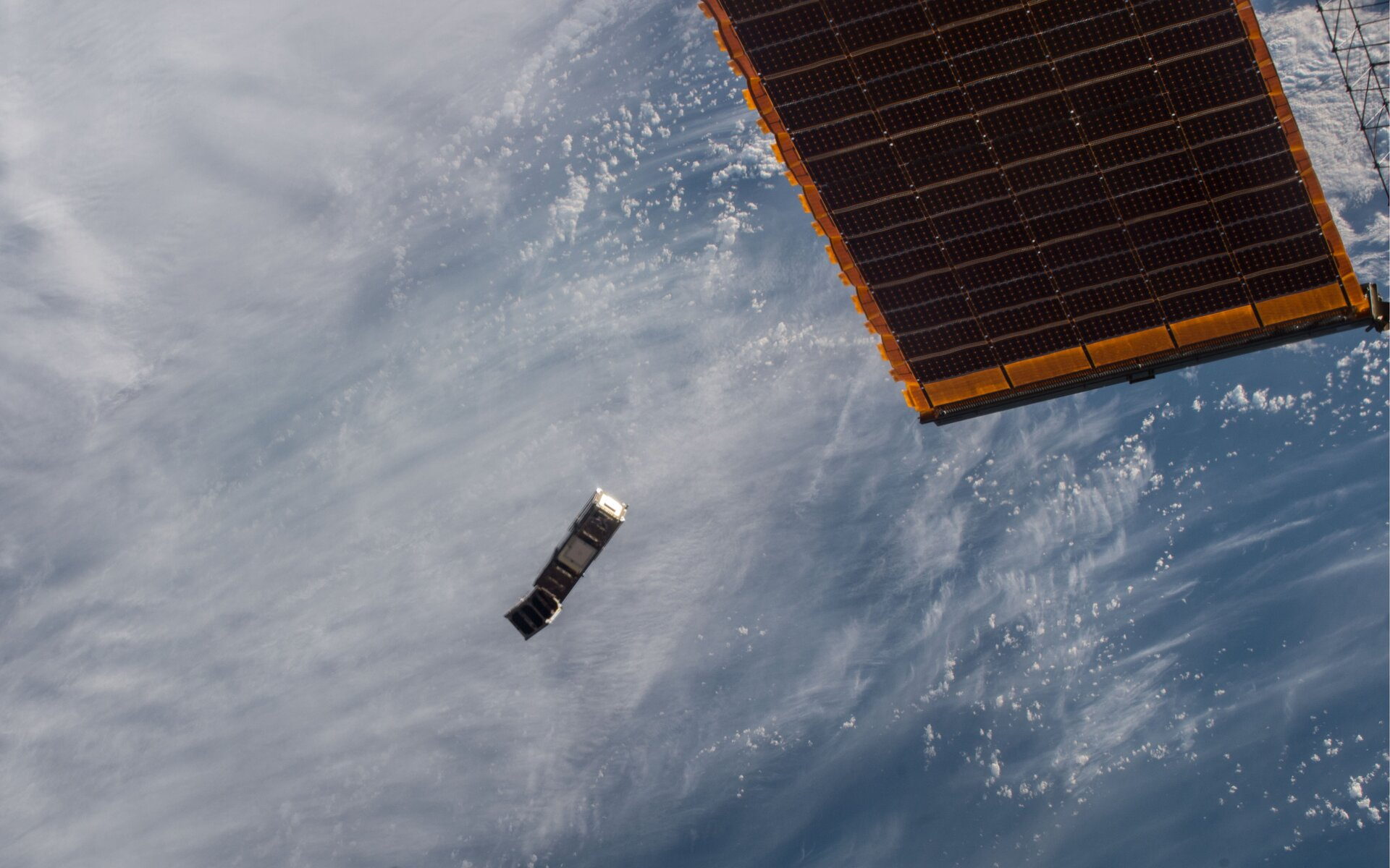 GOMX-3 CubeSat after its deployment from the ISS