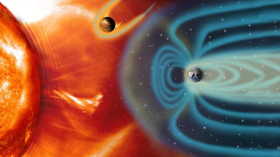 Solvinden og Mars ydre atmosfære