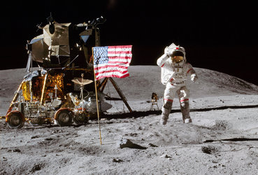 Apollo 16 commander John Young on the moon