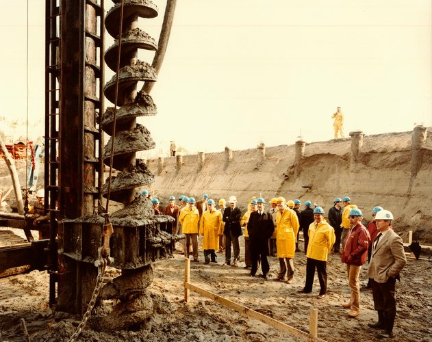 Breaking ground for Test Centre expansion, 1982
