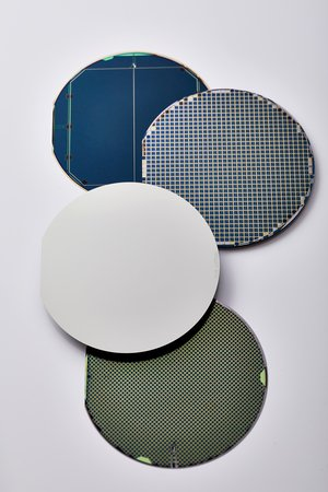 Germanium wafers before and after cell manufacturing for different applications