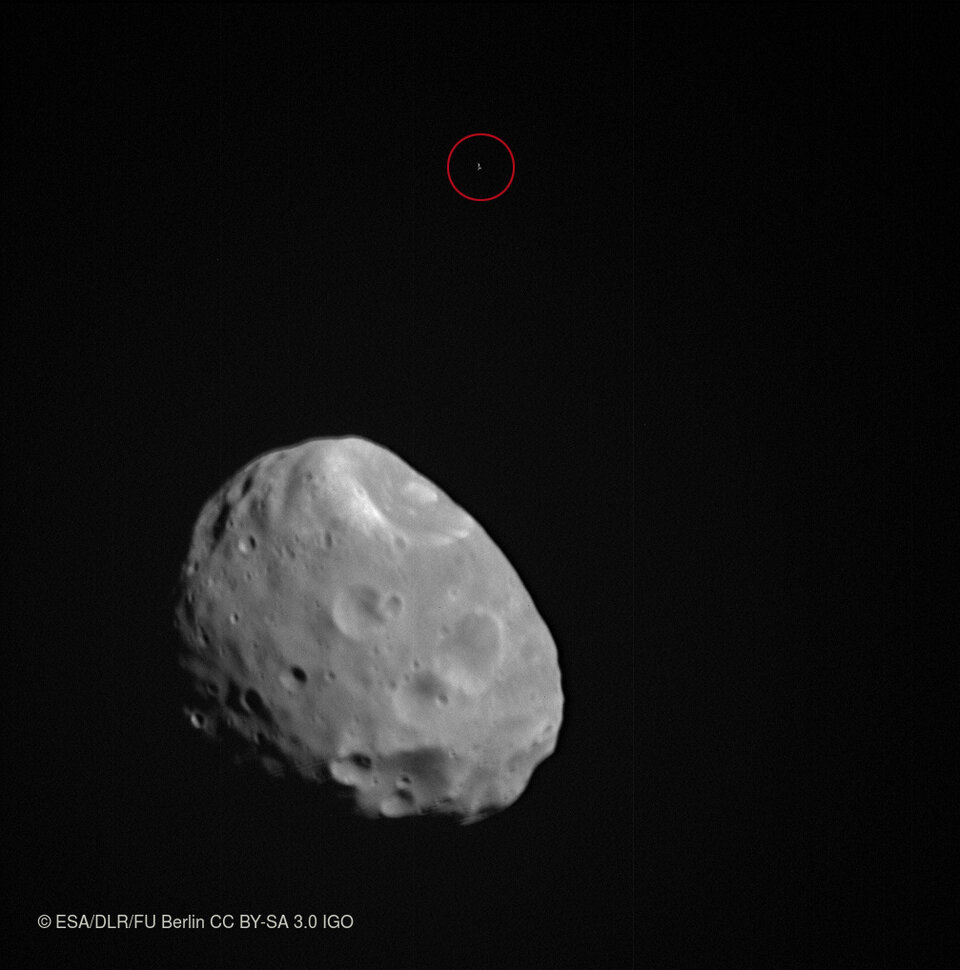 Phobos and background star