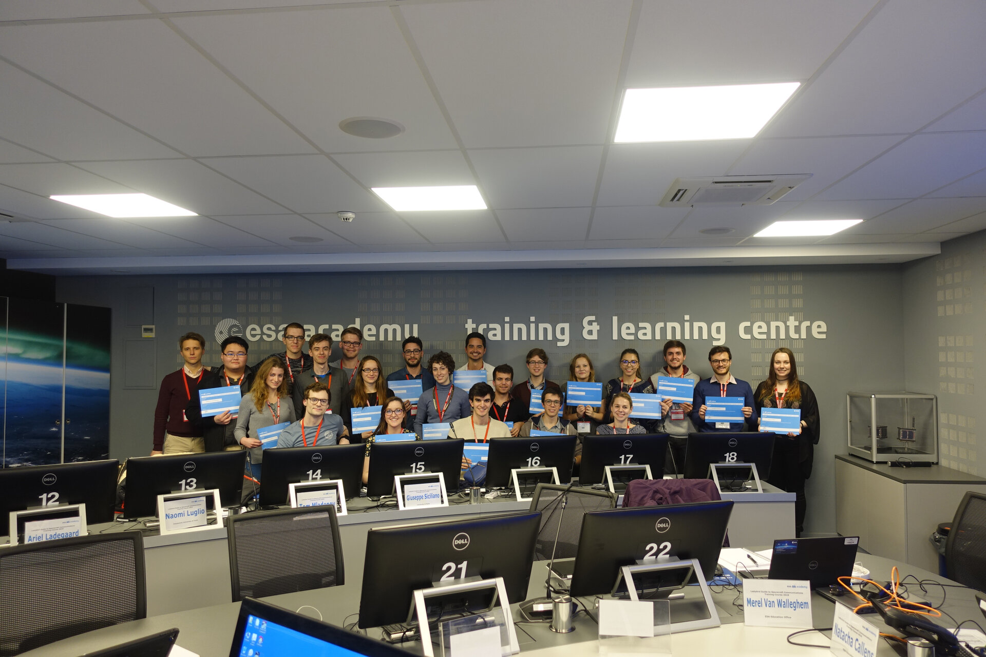 Students with their training participation certificates